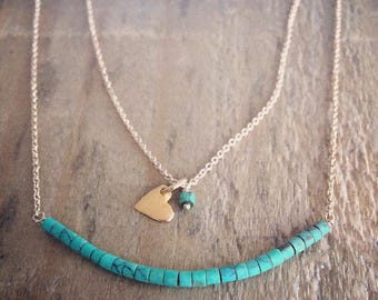 Vermeil Heart Charm Turquoise Necklace on Gold Filled Chain