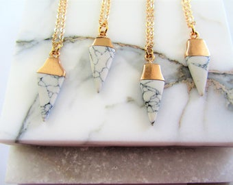 Bridesmaids Gift Set of 4 Necklaces,Marble Triangle Necklace,Geometric Necklace,Gift for Her,White Marble Necklace,Gold Necklace