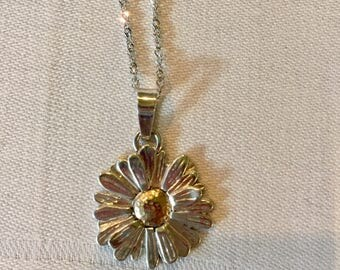 Daisy Necklace Sterling Silver and 10k Gold
