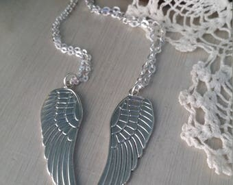 Couples best friends set of two angel wings necklaces