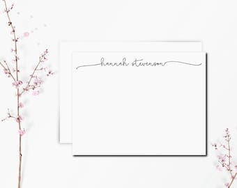 FLAT Script Thank You Cards-8pk Script Monogram Personalized Stationery. Notecard. Personalized. Stationary. Note Card. Stationery.