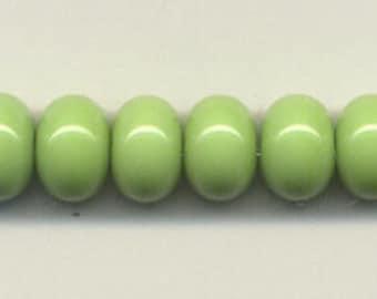 10mm, Tom's lampwork opaque elphaba green 12 spacers bead set 95641