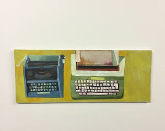 Original Painting Of Two Typewriters, Acrylic And Oil Painting On Canvas Mounted On Wood by Rochester, NY Artist Rina Miriam Drescher