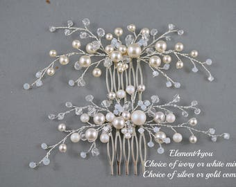 Bridal hair comb, wedding hair accessories, bridal headpieces, White pearls hair comb bridal ,wedding hair comb, bridal hair vines comb