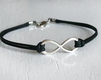 Infinity Bracelet with Clasp (many colors to choose)