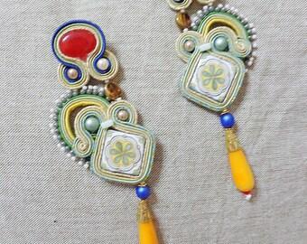 Sicily earrings, chandeliers, tile earrings, fiber art jewelry, folk sicily earrings, made in Italy, azuleios tile earrings costume