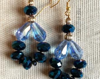 Blue Princess crystal shimmer earrings