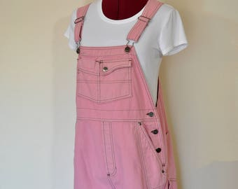 Pink Large Bib OVERALL Shorts - Petal Pink Dyed Upcycled Vintage 90s Harley Davidson Cotton Shortalls - Adult Womens Size Large (36 Waist)
