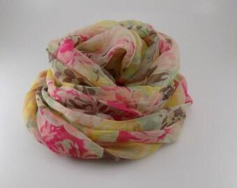 Handmade Silk Scarf / Floral Scarf