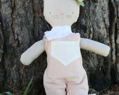 baby cat cloth doll, organic cotton doll,heirloom doll, vintage inspired, pink linen overalls, white lace scarf, flower