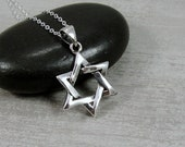 Sterling Silver Star of David Necklace, Star of David Charm, Star of David Pendant, Judaism Jewelry, Hanukkah Gift Jewelry