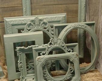 Frame Collection - Duck Egg Blue Frames - Wedding Frames - Nursery Frames - Farmhouse Frames - Distressed and Hand Painted Wall Art