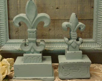 Wood Fleur de Lis - Wood Figurines - Farmhouse Decor Finials - Wood Silhouettes - Home Decor - Chalk Paint Duck Egg Blue