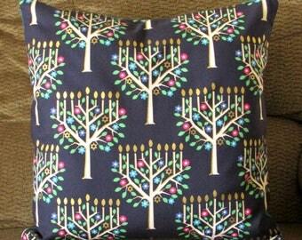 "Hanukkah Pillow Cover, Navy Blue, Gold, Bright Blue, Pink, Green, Chanukiah Menorah Design, 16 inch Square, ""Tree of Light"""
