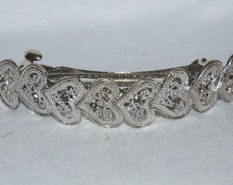 Vintage / Heart / Hair Clip / Silver / Metal / Barrette / old jewelry / jewellery