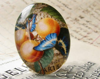 Peaches and blue butterfly cabochon, 40x30mm glass oval cabochon, vintage fruit, colorful produce label, handmade in this shop, 30x40mm