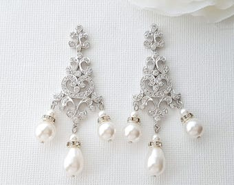 Wedding Earrings Chandelier Bridal Earrings Swarovski Pearl Wedding Earrings Cubic Zirconia Long Crystal Bridal Earrings, Freya
