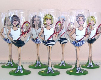 Tennis/Golf Ladies Wine Glass, Sport Girl Friend Portrait /Likeness Wine Glass Hand Painted (Custom Order)