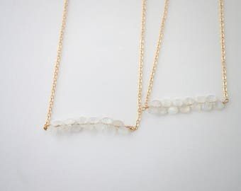 Moonstone Necklace, Gemstone Row Necklace, Gold Moonstone Necklace, Bridesmaid Necklace, Bridal Jewelry, Layering Necklace