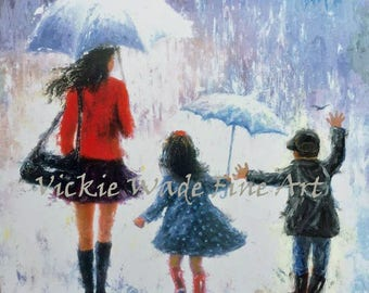 Boy and Girl Art Print, twin boy and girl, twin brother and sister, mother gift, rain children wall art, umbrellas, mom, Vickie Wade art