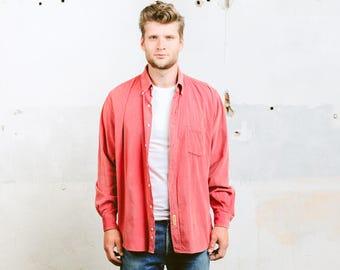 Corduroy Shirt . Vintage 90s Grunge Cord Long Sleeve Shirt Men's Minimalist Pink Shirt Unisex Boyfriend Gift for Him . size Extra Large