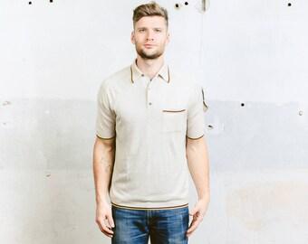 Men 70s Polo Shirt . Vintage Rocabilly Shirt Golf Tennis Wool T-shirt Short Sleeve Shirt Beige Shirt Hipster Outfit . size Medium