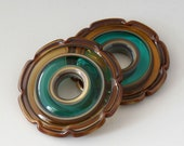 Ruffle Stained Glass Discs - (2) Handmade Lampwork Beads - Teal, Amber
