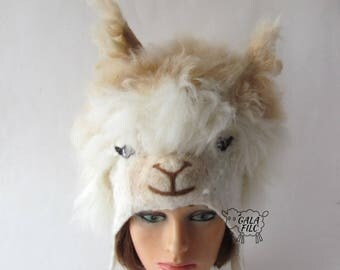 Felted hat Cream Alpaca hat Beige White animal hat Felt warm hat white Wool Hat Winter Warm felt hat outdoors gift ski hat