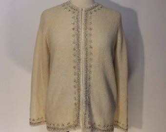 Vintage Cyn Les Wool Cardigan With Sequins Sz L