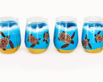 Set of 4 Hand-Painted Beach Turtle Wine Glasses - Sea Turtles, Sea Grass, Sand on Stemless Wine Glasses - READY TO SHIP
