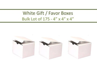 175 White Favor Boxes 4 x 4 Inch Gift Box, Tuck Top Favor Boxes White 4 x 4 Boxes 175 White 4 in Boxes 175 White Boxes 175 Favor Boxes