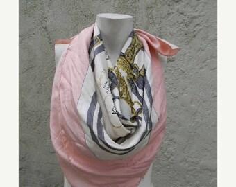 SUMMER SALE vintage. AUTHENTIC HermesParis Brides de Gala  //  Large Pink Silk Scarf