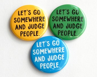 """Wanderlust 1.5"""" Travel Pins, People Watch Fridge Magnets, Backpack Button Small Gift Under 10, Let's Go Somewhere Locker Magnet Decorations"""