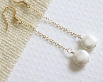 Shell Pearl Earrings, Simple Earrings, Long Pearl  Earrings, Everyday Earrings, Hoop Earrings, Casual Earrings, Modern Earrings