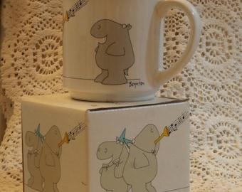 Sandra Boynton Hippo New Year Coffee Mug, Vintage Japan Made Happy New Year's Celebrate Funny Cute