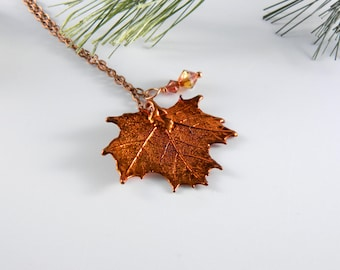 Small Maple Leaf Pendant Necklace with Short Chain, 16-20 inch chain