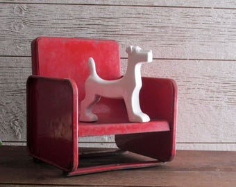 vintage metal chair - decorative chair - Red Metal Chair - little red chair
