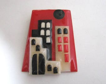 Bold Red Geometric house pin by Lucinda with black and cream accents