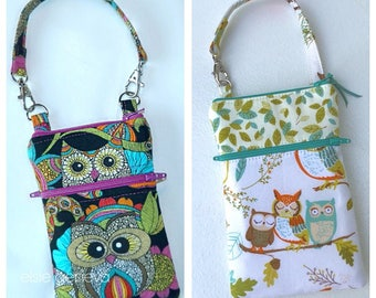 Owl Phone Case with Optinal Wristlet or Shoulder Strap Made to Order Black Magenta Aqua Green