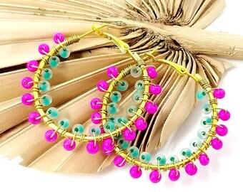 Hot Pink Beaded Hoop Earrings - Green Hoops - Beach Boho Jewelry - Tribal Ethnic Earrings - Gifts for Her - Colorful Summer Hoop Earrings -