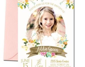 LDS Baptism Invitation, Baptism Invitation Girl, Girl's Baptism Invitation, Watercolor Floral Wreath, photo invitation, christening, lds