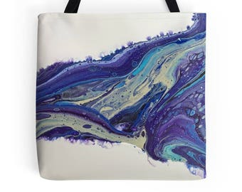 Out of the Blue Original Fluid Acrylic Art L, M or S Tote Bag, Printed on Both Sides!