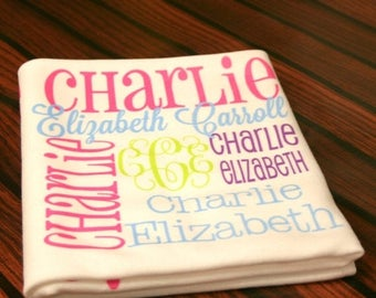Summer Savings Personalized Baby Blanket Monogrammed Baby Blanket Name Blanket Swaddle Receiving Blanket Baby Shower Gift Photo Prop Birth A