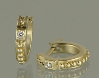 Gold huggie earrings 10K gold diamond huggie earrings yellow gold hoop earrings diamond hoop earrings Etruscan granulation style