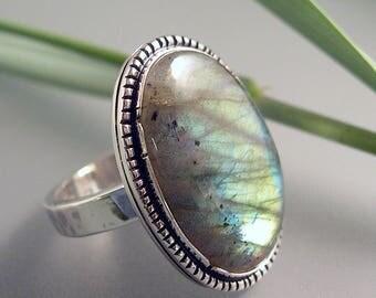 Labradorite Green Blue Ring Sterling Silver