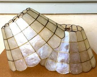 Vintage Pair of Capiz Shell Lamp Shades Windowpanes