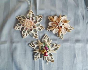 Seashell Ornaments, Window Shell Ornaments, Christmas Shell Ornaments, Sliced Shells, Vintage Jewelry, Each