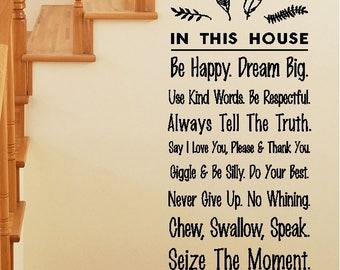In This House...Be Happy Dream Big...House/Family Rules Funny Quotes Family Wall Words Sayings Lettering Removable Home Decal