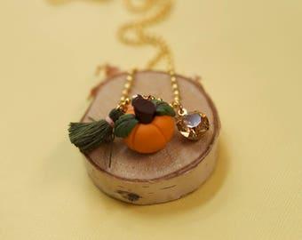 Fall halloween pumpkin charm necklace. Girls necklace