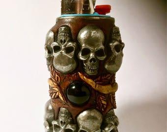 14 skull Lighter Cover Cigarette Lighter Case ooak